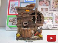 Декоративный настольный водопад плетеная корзина с курочкой и цыплятами. Артикул 2119