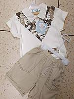 Детский летний костюм для мальчика футболка поло и шорты на 12 месяцев