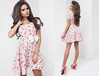 Красивое летнее льняное женское молодежное короткое платье с коротким рукавом  +цвета