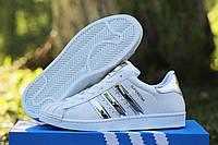 Женские спортивные кроссовки Superstar (белые в серебре)
