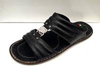 Мужские шлепанцы больших размеров кожаные черные/бежевые Uk0438