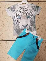 Детский летний 3 D костюм для мальчика с тигром и бриджами на подтяжках