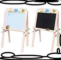 Мольберт руссские буквы, губка, маркер, мел,2 цвета(розовый,голубой)