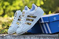 Женские кроссовки Superstar (белые в золоте)