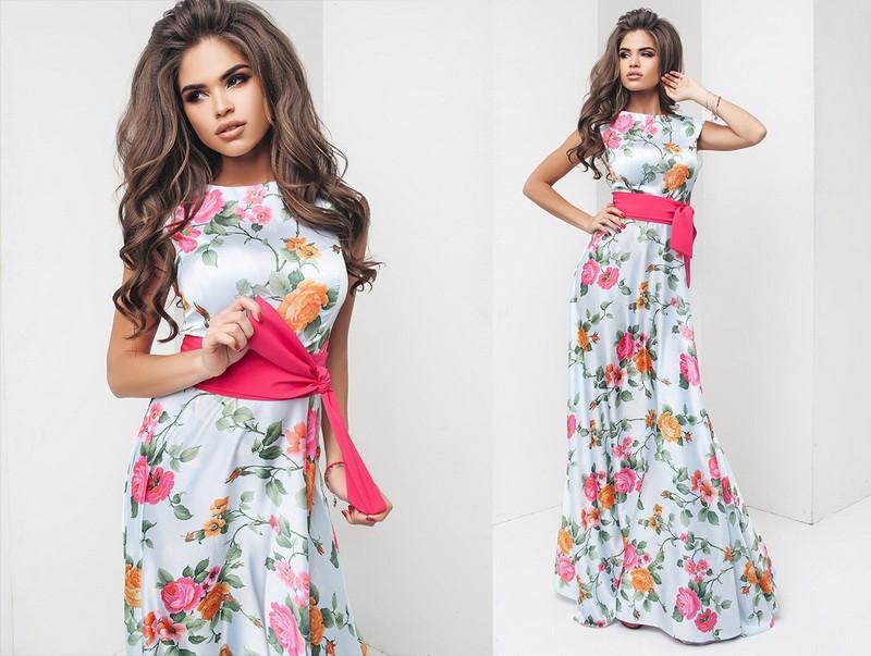 ddd7832a6bd ... фото Нарядное красивое шелковое женское платье в пол с коротким рукавом  с поясом +цвета