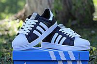Мужские спортивные кроссовки Adidas Superstar (черно-белые)
