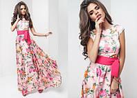 Нарядное красивое шелковое женское платье в пол с коротким рукавом с поясом  +цвета Розовый, 42