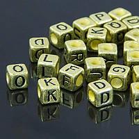 Бусины Акрил Микс Букв, Кубики, Цвет: Античное Золото, Размер: 6х6х6мм, Отверстие 4мм, около 140шт/25г, (УТ100006744)