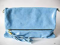 Мягкий клатч из натуральной лазерной кожи Голубой