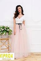 Длинное платье в пол с кружевным лифом и пышной юбкой из сетки