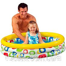 Бассейн надувной  детский Intex 59419 Геометрия, 114 х 25 см, бело-желтый
