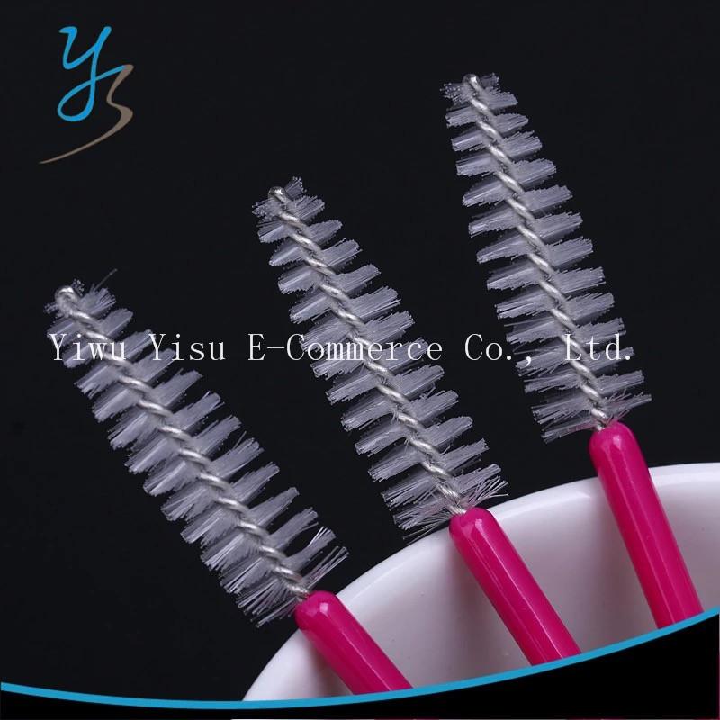 Щеточки для расчесывания ресниц и бровей, белая на розовой ножке, 10 шт