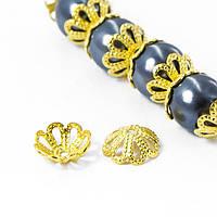 Шапочки Латунные для Бусин, Цветок, Цвет: Золото, Диаметр: 8мм, Отверстие 1мм, (УТ100006834)