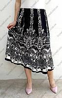 Трикотажная женская юбка годе с оригинальным принтом