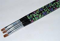 Прямая кисть для геля с цветочным принтом №8, кисть YRE YKGB-08-C, кисти для ногтевого дизайна