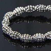 Бусины Металлические овал, Цвет: Античное Серебро, Размер: 7х5мм, Отв-тие 2мм, около 30шт/нить, (УТ100006867)