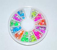Разноцветный металлический декор для ногтей в карусельке, декор YRE DMC-03, красивый дизайн ногтей