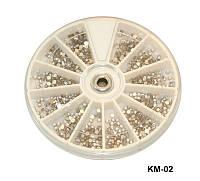 Контейнер-карусель со стразами, большие камни YRE KMK-02, ногти со стразами