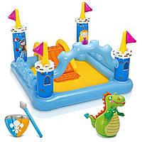 """Детский надувной игровой центр """"Замок с драконом"""" Intex 57138 с горкой и душем  185х152х107 см"""