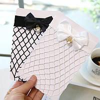Стильные женские черные и белые носки сетка с бантами и жемчугом