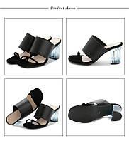 Модные женские шлепки босоножки без задников на толстом высоком прозрачном каблуке черные