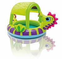 Надувной детский бассейн с навесом «Морской конек» Intex 57110 (188х147х104 см) HN