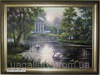 Картина пейзаж Лебеди на пруду