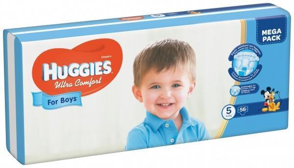 Подгузники для мальчиков Huggies Ultra Comfort 5 (12-22 кг) Mega Pack, 56 шт.