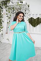 Женское классическое платье с карманами и гипюром