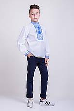 Вышитая подростковая сорочка с синим орнаментом , фото 3