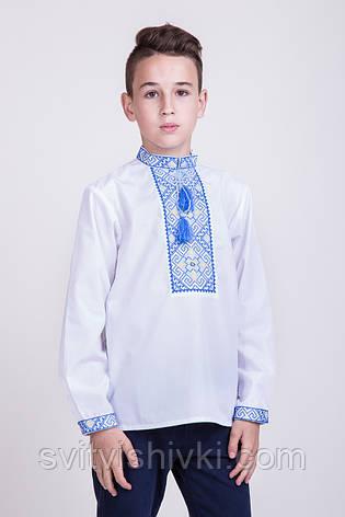 Вышитая подростковая сорочка с синим орнаментом , фото 2