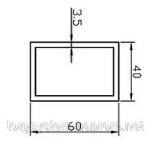 Алюмінієва Труба прямокутна ПАС-0471 60х40х3.5 / AS Срібло