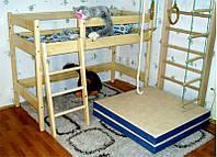Кровать чердак из бука Ирель, высота - 122см