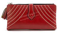 Женский качественный кошелек с эко кожи с прошивками FUERDANNI art. K76-2183 красный