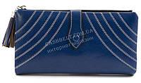 Женский качественный кошелек с эко кожи с прошивками FUERDANNI art. K76-2183 синий