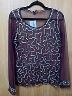 Блузка - сетка женская бордовая с вышивкой, 44-48 размеры