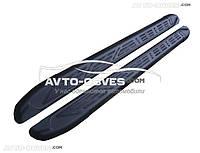 Боковые подножки для VW Caddy IV 2015-..., стиль Audi Q7 черные, кор (L1) / длин (L2) базы