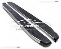 Защитные боковые подножки площадки для Fiat Doblo 2014-... , стиль Porsche Cayenne Erkul, кор (L1) / длин (L2)