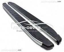 Защитные боковые подножки площадки для Фиат Добло 2014-... , стиль Порш Каен Erkul, кор (L1) / длин (L2)