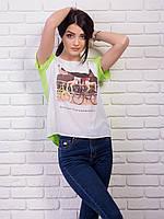 Комбинированная яркая молодежная женская футболка