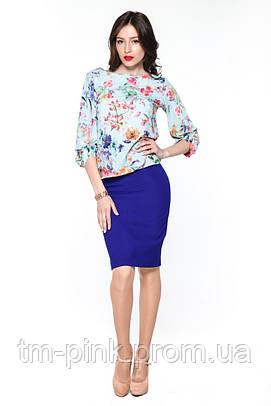 """Блуза фігурний манжет принт квіти """"Tiffany"""""""