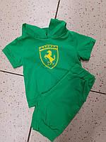 Детский летний костюм для мальчика футболка и бриджи зеленый 86-116