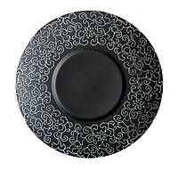 "Тарелка круглая черная матовая с узором 10"" (25,4 мм) FC0031-10"