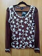 Блузка - сетка женская бордовая с белой вышивкой, 44-48 размеры