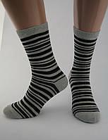 Носки женские хлопок разноцветные светло-серые в темно-серую полоску Ж-900049