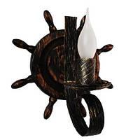 Бра из дерева Штурвал - Старый 1 лампа Старая Бронза, Дерево Состаренное темное