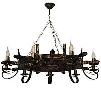 Люстра из дерева Штурвал - Старый 9 ламп Старая Бронза, Дерево Состаренное темное