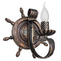 Бра из дерева Штурвал - Корабельный 1 лампа Старая Бронза, Дерево Состаренное темное