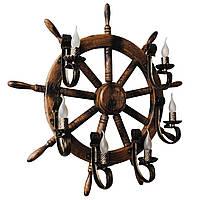 Настенный светильник из дерева Штурвал - Корабельный Кованый 6 ламп Старая Бронза, Дуб Темный