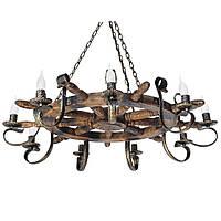 Люстра из дерева Штурвал - Корабельный 9 ламп Старая Бронза, Дерево Состаренное темное